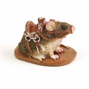 Fiddlehead Mouse with Saddle Fairy Garden Figure