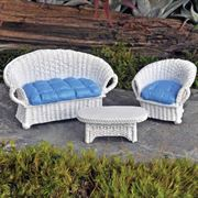 Fairy Garden Wicker Settee- White