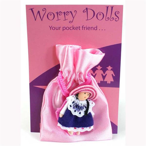 purple worry doll