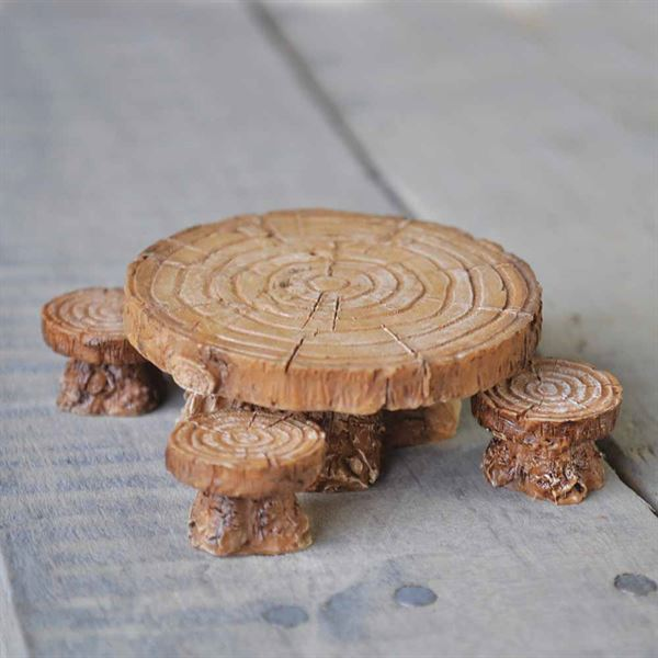 Miniature Garden Table and stools- Fiddlehead