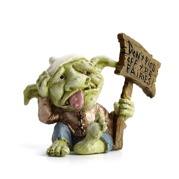 "Miniature Fairy Garden Troll with sign ""Don't piss off the fairies"""