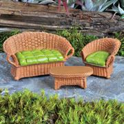 Fairy Garden Brown Wicker chair