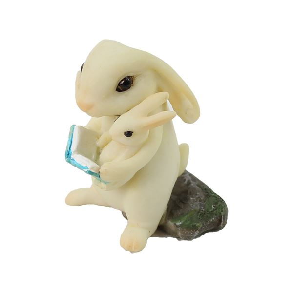 fairy garden accessories: bunny with book and baby